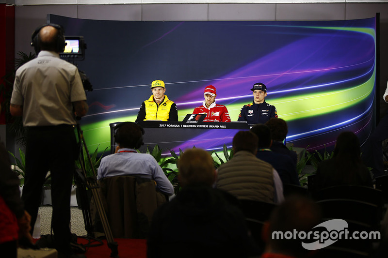 Thursday press conference: Nico Hulkenberg, Renault Sport F1 Team, Sebastian Vettel, Ferrari, Max Verstappen, Red Bull