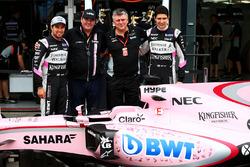 Sergio Perez, Sahara Force India F1, Lutz Huebner, BWT Marketing Chief; Otmar Szafnauer, Sahara Force India F1 Chief Operating Officer; and Esteban Ocon, Sahara Force India F1 Team