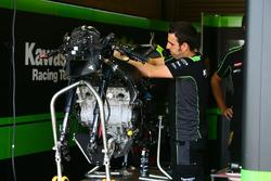 Technician working on the bike of Jonathan Rea, Kawasaki Racing