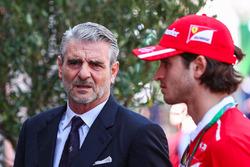 Maurizio Arrivabene, Ferrari Team Principal, Antonio Giovinazzi, Ferrari Test and Reserve Driver