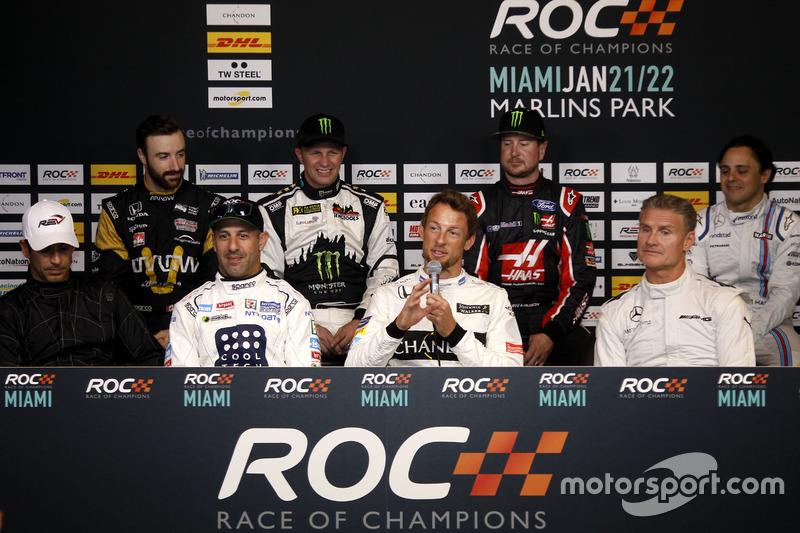 Conferencia de prensa Helio Castroneves, Tony Kanaan, Jenson Button, David Coulthard, James Hinchcliffe, Petter Solberg, Kurt Busch, Felipe Massa