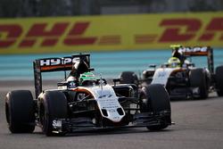 Nico Hulkenberg, Sahara Force India F1 VJM09 leads team mate Sergio Perez, Sahara Force India F1 VJM