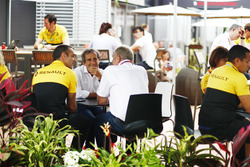 Cyril Abiteboul, Managing Director, Renault Sport F1 Team, Alain Prost and Helmut Marko, Consultant, Red Bull Racing, in the paddock