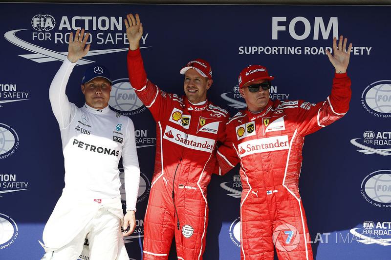 Pole: Sebastian Vettel, Ferrari, 2. Kimi Raikkonen, Ferrari, 3. Valtteri Bottas, Mercedes-Benz F1