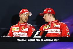 Sebastian Vettel, Ferrari, Kimi Raikkonen, Ferrari, en conférence de presse