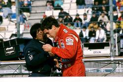 Ayrton Senna, McLaren, mit Osamu Goto, Honda-Rennleiter