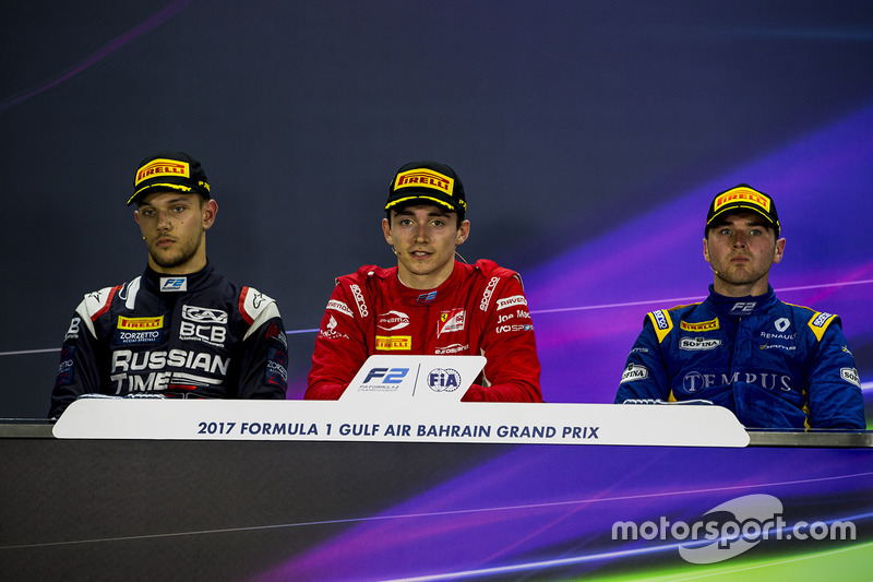Post-race press conference: race winner Charles Leclerc, PREMA Racing, second place Luca Ghiotto, RUSSIAN TIME, third place Oliver Rowland, DAMS