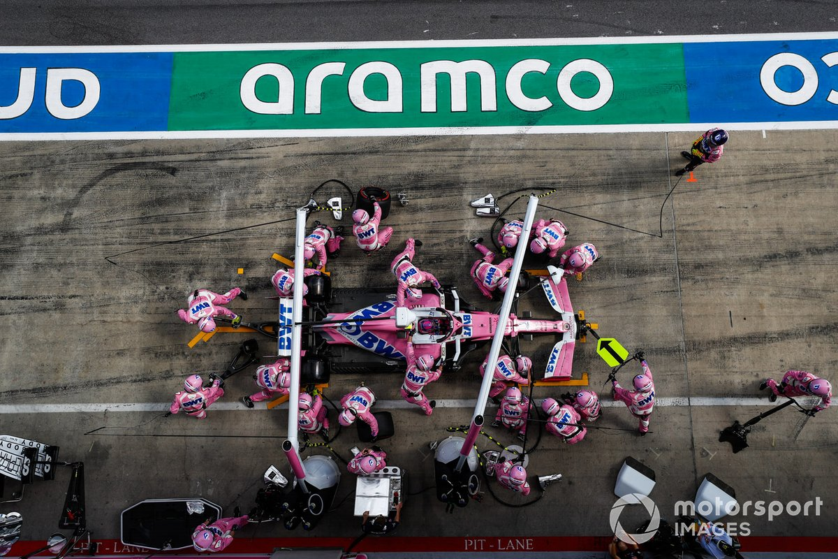 Arrêt au stand de Lance Stroll, Racing Point RP20