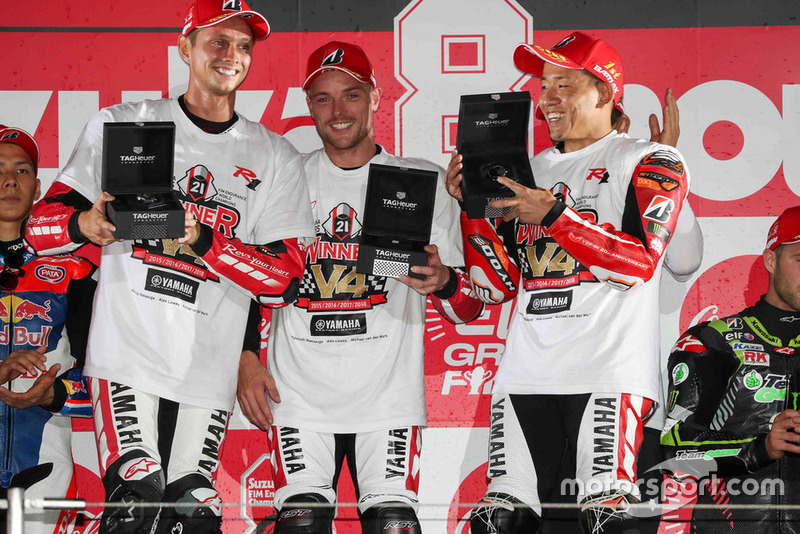 Podium: #21 Yamaha Factory Racing Team: Michael van der Mark, Alex Lowes, Katsuyuki Nakasuga