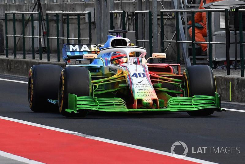 Robert Kubica, Williams FW41, avec de la peinture aéro flow-viz sur la voiture