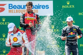 Podium: race winner Scott McLaughlin, DJR Team Penske Ford, second place Chaz Mostert, Tickford Racing Ford, third place Jamie Whincup, Triple Eight Race Engineering Holden, Larry Perkins