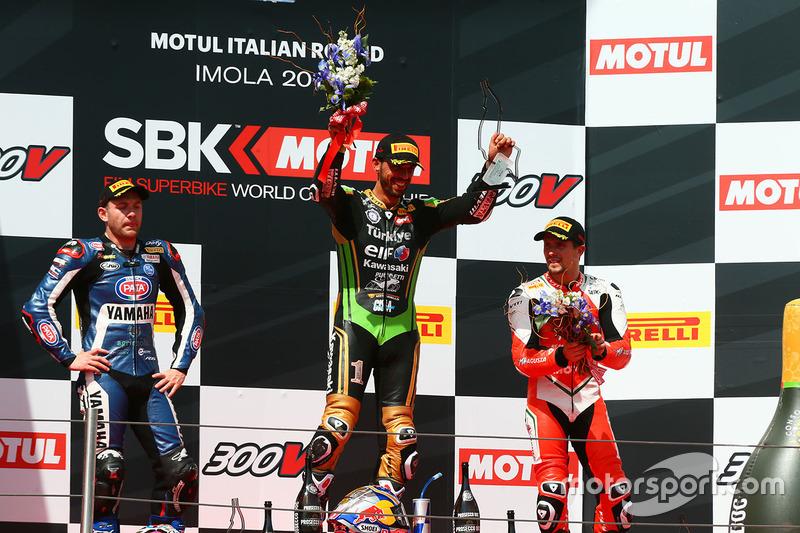 Podyum: Yarış galibi Kenan Sofuoglu, Kawasaki Puccetti Racing, 2. Lucas Mahias, GRT Yamaha Official WorldSSP Team, 3. P.J. Jacobsen, MV Agusta
