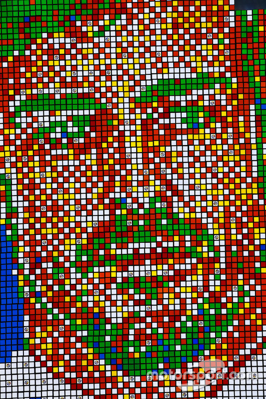 Portrait of Fernando Alonso, McLaren, made from Rubik's Cubes