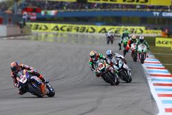 Michael van der Mark, Pata Yamaha; Alex de Angelis, Pedercini Racing; Raffaele de Rosa, Althea Racing