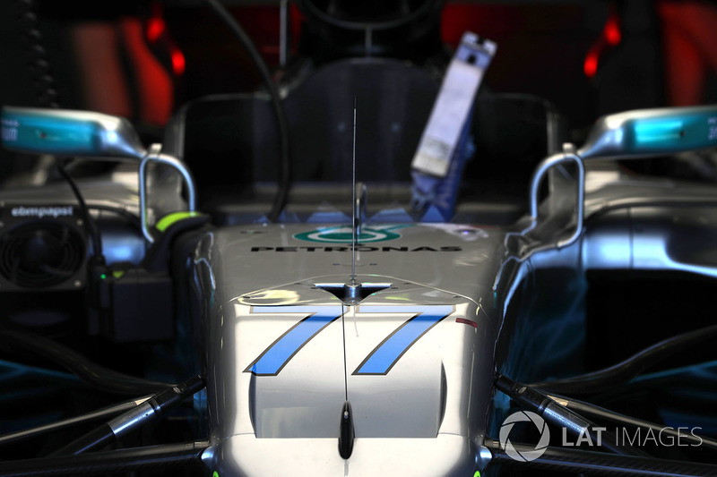 Car of Valtteri Bottas, Mercedes-Benz F1 W08 Hybrid in the garage