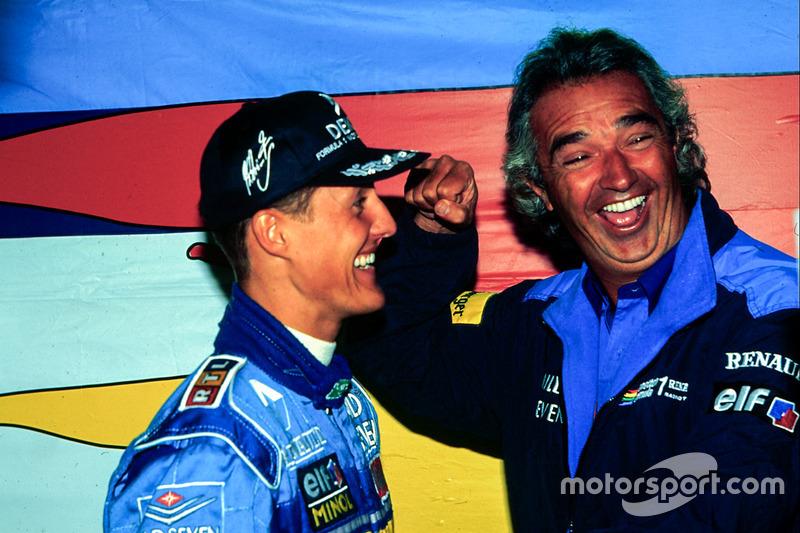 1995. Подіум: 1. Міхаель Шумахер, Benetton-Renault. 2. Деймон Хілл, Williams-Renault. 3. Матрін Брандл, Ligier-Mugen Honda