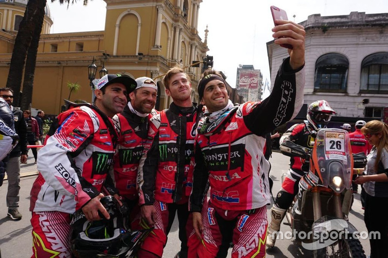 Equipo HRC: Paulo Gonçalves, Michael Metge, Ricky Brabec y Kevin Benavides