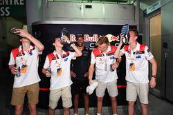 F1 in Schools winners celebrate, a Shoey and Daniel Ricciardo, Red Bull Racing