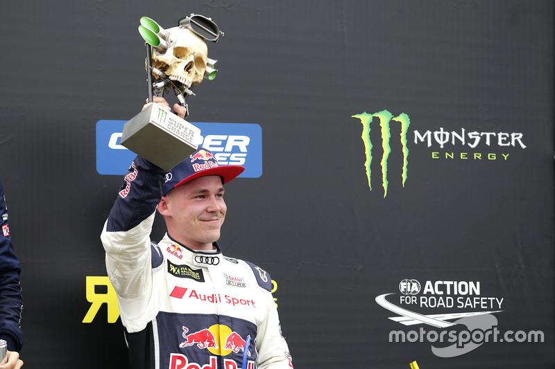 Podium: Supercharge trophy for Toomas Heikkinen, EKS, Audi S1 EKS RX Quattro