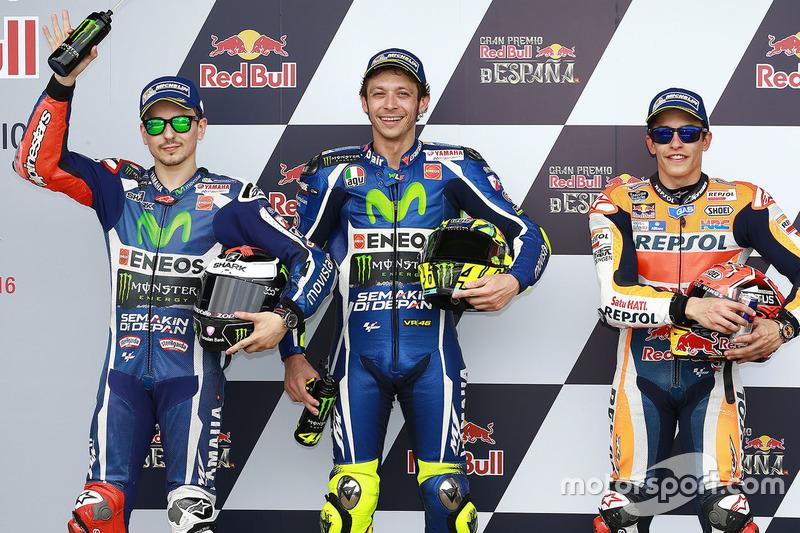Pole-Position für Valentino Rossi, Yamaha Factory Racing, 2. Jorge Lorenzo, Yamaha Factory Racing, 3. Marc Marquez, Repsol Honda Team