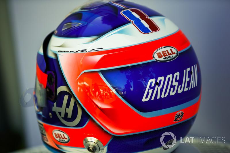 Le casque de Romain Grosjean, Haas F1 Team