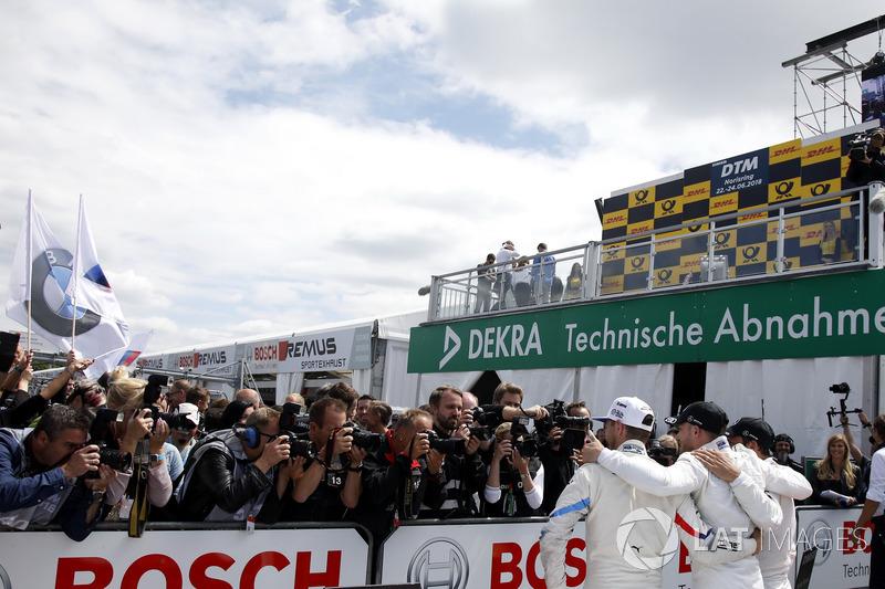 Top 3 after Race 1: Race winner Edoardo Mortara, Mercedes-AMG Team HWA, second place Gary Paffett, Mercedes-AMG Team HWA, #third place Marco Wittmann, BMW Team RMG