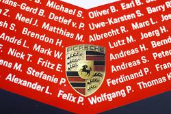 Porsche Team Porsche 919 Hybrid with Porsche logo and drivers name