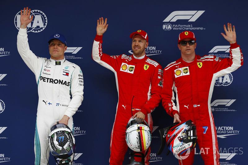 Ganador de la pole Sebastian Vettel, Ferrari, segundo lugar Kimi Raikkonen, Ferrari, tercer lugar Valtteri Bottas, Mercedes AMG F1