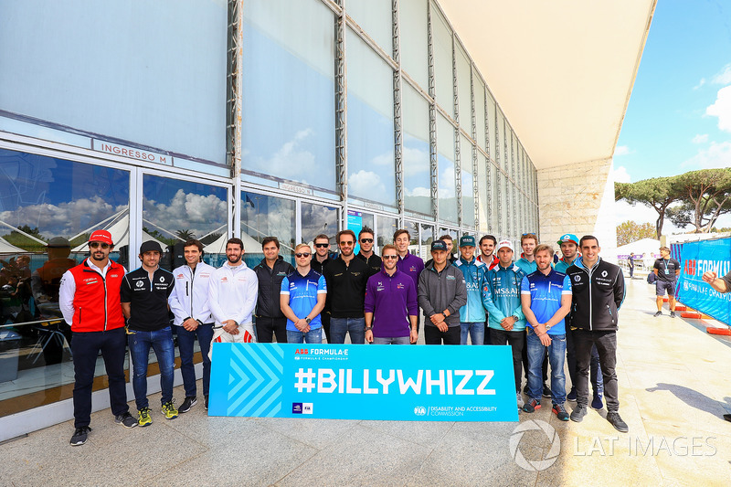 All Formula E drivers pose for a photo with the hashtag BillyWhizz
