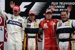 Robert Kubica, BMW Sauber with Fernando Alonso, Renault and Kimi Raikkonen, Ferrari on the podium