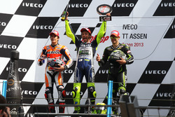 Podium: second place Marc Marquez; Winner Valentino Rossi; third place Cal Crutchlow