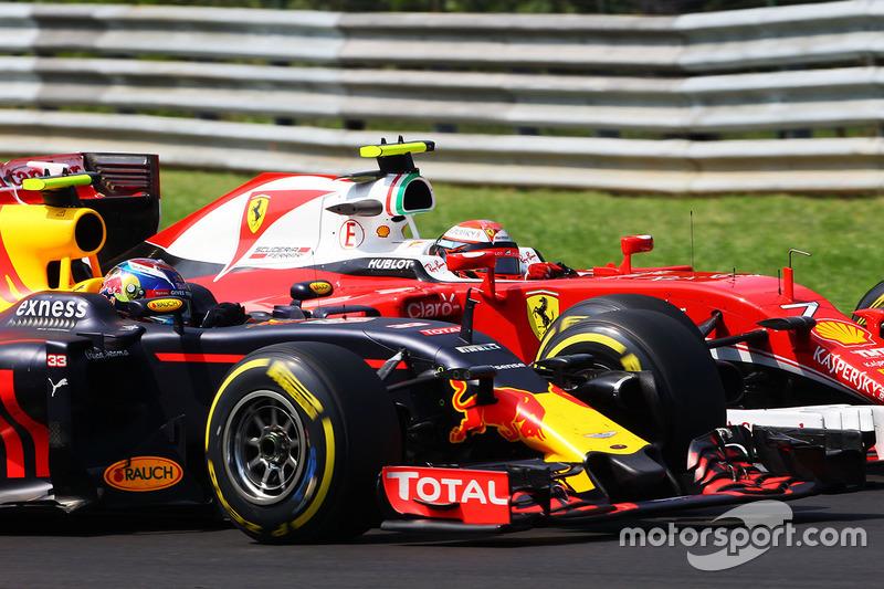 Max Verstappen, Red Bull Racing RB12 and Kimi Raikkonen, Ferrari SF16-H battle for position