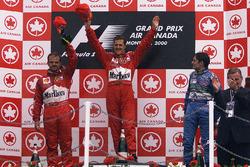 Podium: race winner Michael Schumacher, second place Rubens Barrichello, Ferrari, third place Gianca