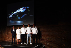 Paddy Lowe, Claire Williams, Lance Stroll, Sergey Sirotkin and Robert Kubica on stage at the launch of the FW41