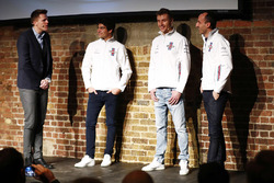 Lance Stroll, Sergey Sirotkin, Robert Kubica, Williams on stage at the launch of the FW41