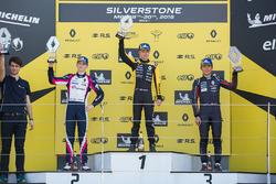 Podium: race winner Max Fewtrell, R-Ace Gp, second place Logan Sargeant, R-Ace GP, third place Yifei Ye, Josef Kaufmann Racing