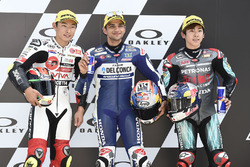 Il poleman Jorge Martin, Del Conca Gresini Racing Moto3, il secondo qualificato Tatsuki Suzuki, SIC58 Squadra Corse, il terzo qualificato Ayumu Sasaki, Petronas Sprinta Racing
