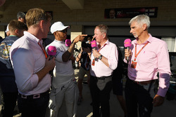 Simon Lazenby, Sky TV, Lewis Hamilton, Mercedes AMG F1, Martin Brundle, Sky TV and Damon Hill, Sky T