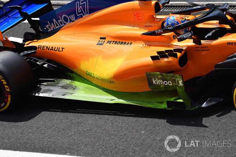 Lando Norris, McLaren MCL33 avec de la peinture aéro