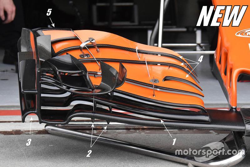Detalle del alerón delantero nuevo del McLaren MCL32