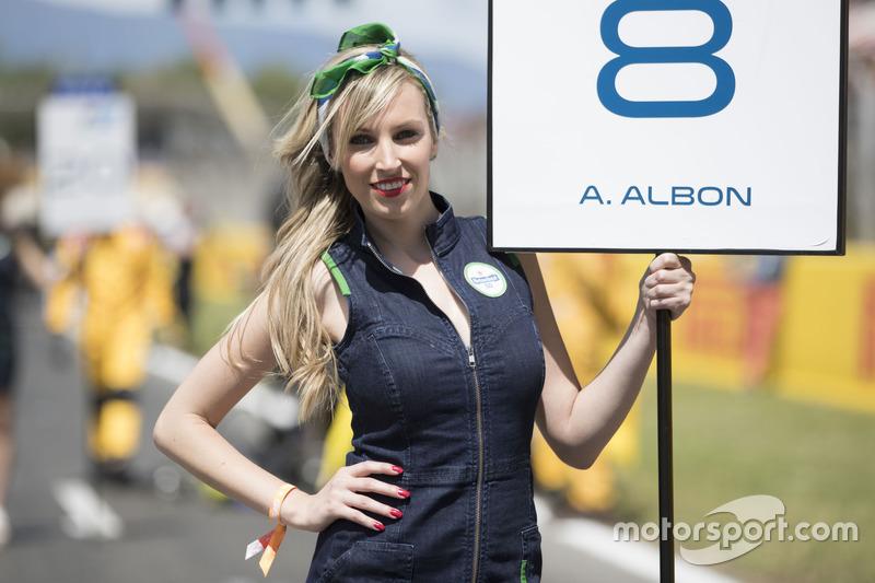 The grid girl of Alexander Albon, ART Grand Prix