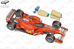 Ferrari F2001 3/4 view with new regulatory elements highlighted