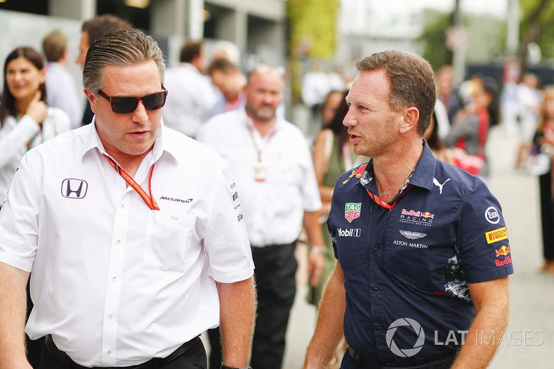 Zak Brown, Director, McLaren Technology Group, Christian Horner, director del equipo, Red Bull Racing