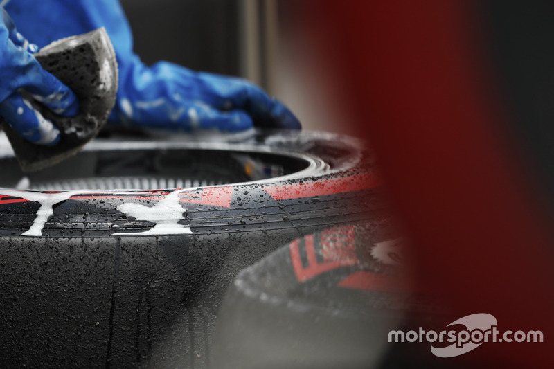 Pirelli tyres are washed in the paddock