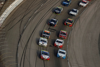 Joey Logano, Team Penske, Ford Fusion AAA Insurance, Ryan Blaney, Team Penske, Ford Fusion Accella/Carlisle, Kevin Harvick, Stewart-Haas Racing, Ford Fusion Mobil 1, Brad Keselowski, Team Penske, Ford Fusion Wurth, restart