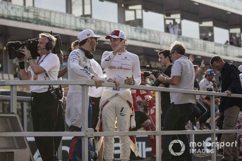 Pierre Gasly, Scuderia Toro Rosso and Charles Leclerc, Sauber on the drivers parade