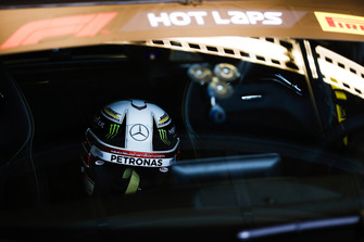 The helmet of Lewis Hamilton, Mercedes AMG F1, in the Mercedes Hot Laps car.