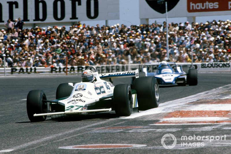 Alan Jones, Williams FW07B Ford, leads Didier Pironi, Ligier JS11/15 Ford