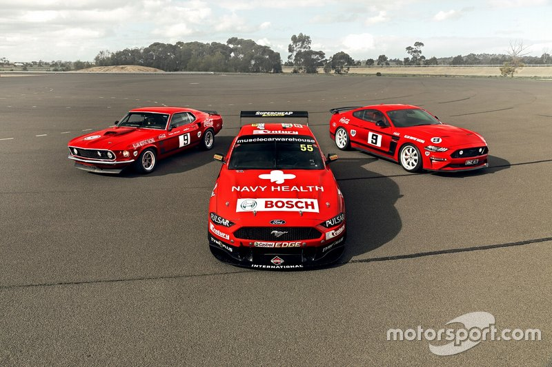 Chaz Mostert and James Moffat, Tickford Ford with an old generation Ford Mustang road cars