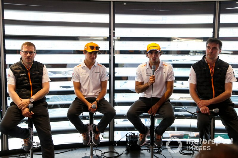 Andreas Seidl, Team Principal, McLaren, Lando Norris, McLaren, Carlos Sainz Jr., McLaren, and James Key, Technical Director, McLaren, hold a Press Conference